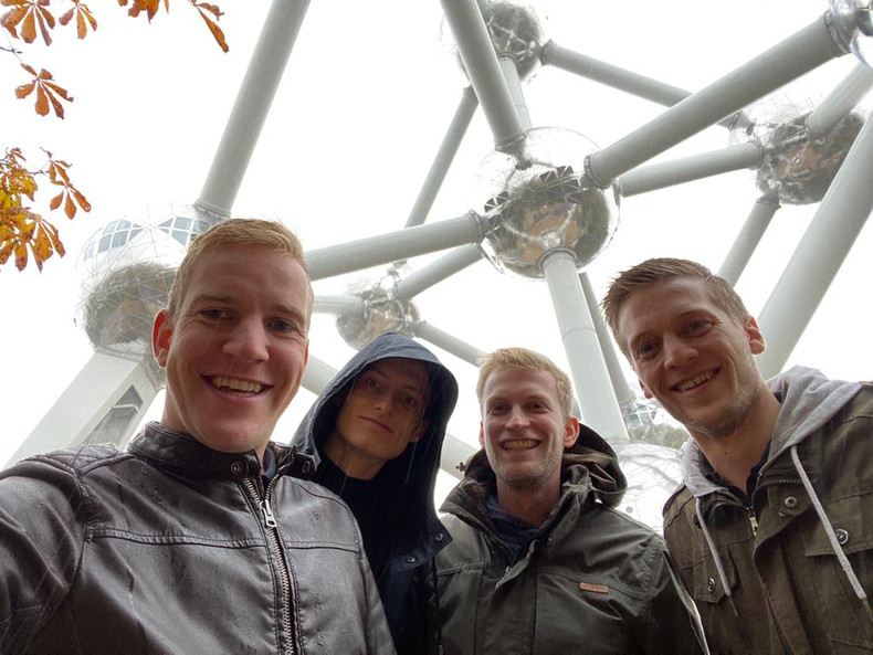 Me and my friends in front of the atomium