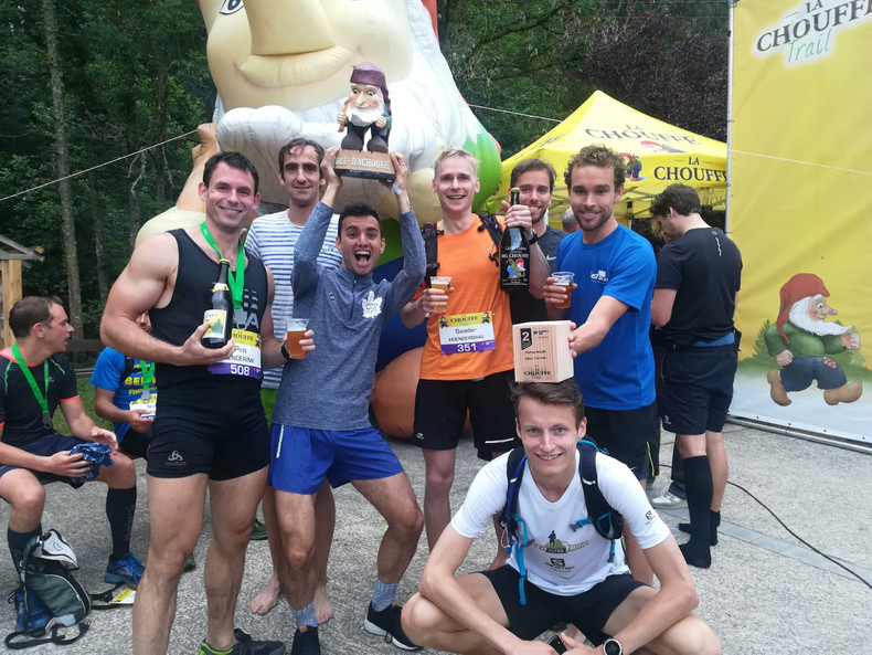 Me and my running friends at the La Chouffe Trail